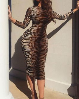 Tiger Print Long Sleeves High Collar Sheath Dress