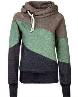 Long Sleeve Color Block Hooded Drawstring Pullover Casual Hoodie