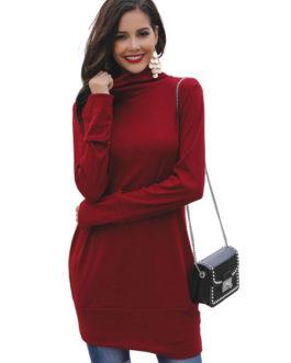 Long Sleeve High Collar Casual Longline Sweatshirt