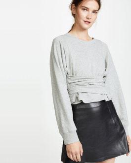 Long Sleeve Round Neck Tie Waist Pullover Sweatshirt