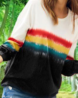 Long Sleeve Sweatshirts Ombre Women Oversized Casual Top
