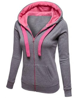 Long Sleeve Two Tone Zip Up Hoodie Jacket