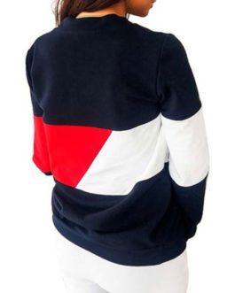 Long Sleeves Color Block Casual Sweatshirt