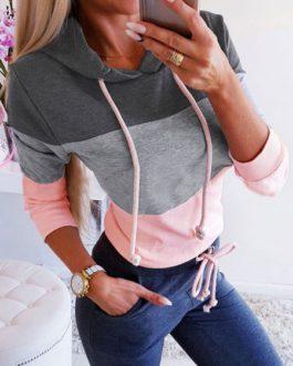 Long Sleeves Color Block Hooded Sweatshirt