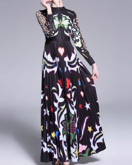 Long Sleeves Floral Print Crewneck Layered Floor Maxi Dress