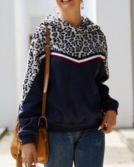 Long Sleeves Leopard Print Hooded Sweatshirt