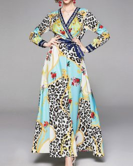 Long Sleeves Leopard Print V Neck Layered Maxi Dress