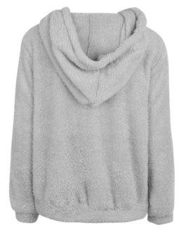 Long Sleeves Pockets Hooded Sweatshirt