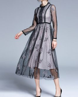 Long Sleeves Polka Dot Embellished Collar Embroidered Floor Maxi Dress