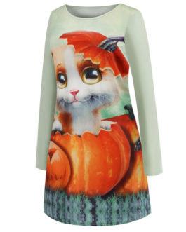 Long Sleeves Printed Jewel Neck Vintage Dress