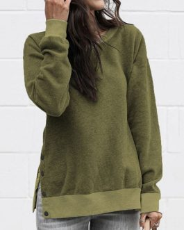 Long Sleeves Split Front Sweatshirt