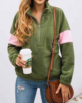 Long Sleeves Two Tone Zipper Sweatshirt
