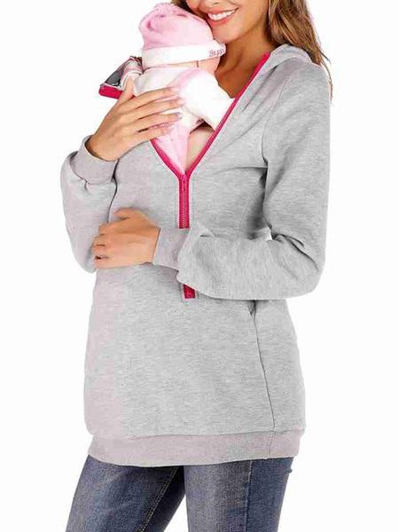 Maternity Hoodie Zip Up Long Sleeve Hooded Sweatshirt Power Day Sale
