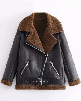 Moto Biker Style PU Leather Jacket