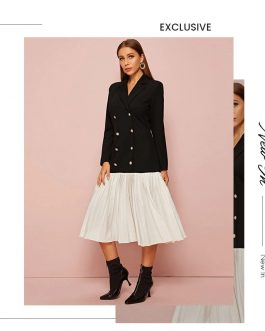 Notched Collar Double Breasted Midi Blazer Elegant Dress