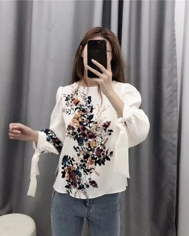 O Neck Bow Tie Puff Sleeve Top
