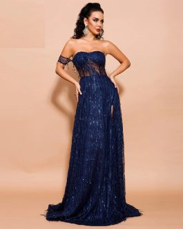 Off Shoulder Sexy Elegant High Split Backless Maxi Dress