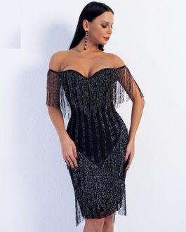 Off Shoulder Striped Glitter Elegant Tassel Mini Dress