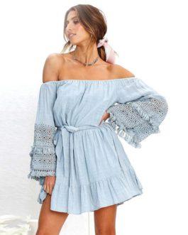 Off Shoulder Tassel Ruffles Mini Dress