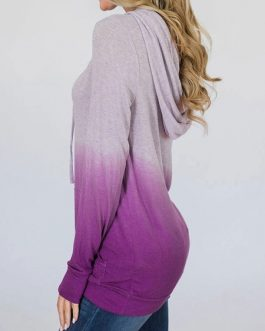 Outerwear Hoodies Long Sleeves Color Block Hooded Sweatshirt