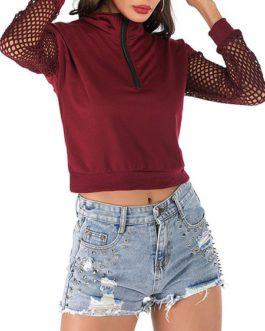 Outerwear Hoodies Long Sleeves Cut Out Hooded Sweatshirt
