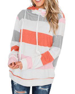 Outerwear Hoodies Long Sleeves Stripes Hooded Sweatshirt