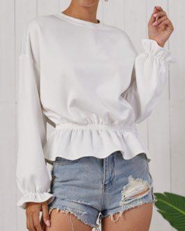 Outerwear Long Sleeves Ruffles Sweatshirt