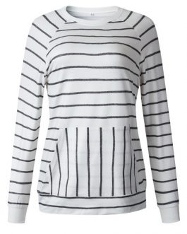 Outerwear Long Sleeves Stripes Sweatshirt