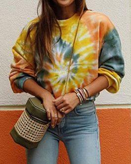 Outerwear Long Sleeves Tie Dye Sweatshirt