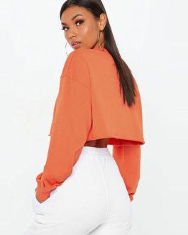 Oversized Half Zip Long Sleeve Cropped Sweatshirt
