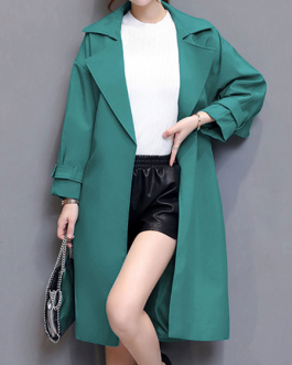 Oversized Trench Coat Turndown Collar Pockets Wrap Coat