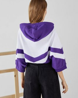 Oversized Two Tone Half Sleeve Pullover Hooded Sweatshirt