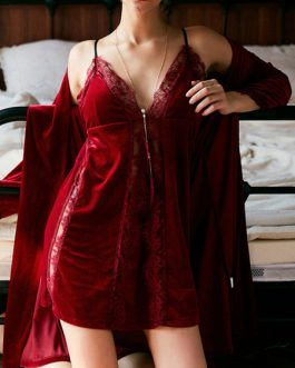 Pajamas Sleepwear Lace Straps Neck Velour Lingerie