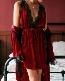 Pajamas Sleepwear Strap Neck Velour Lingerie