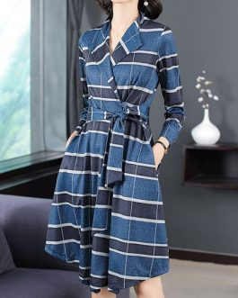 Plaid Coat Turndown Collar Wrap Coat Buttons Casual Coat