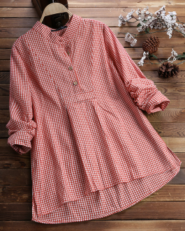 Plaid Long Sleeve Button Irregular Vintage Plus Size Shirt