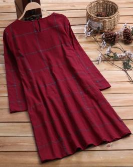 Plaid Long Sleeve Loose Crew Neck Plus Size Vintage Dress