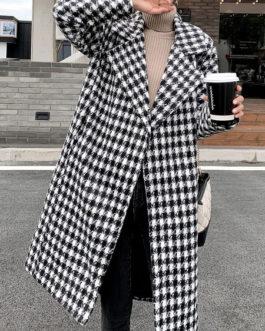 Plaid Turndown Collar Pockets Casual Coat
