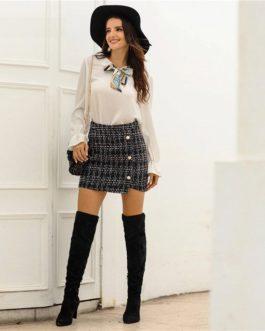 Plaid Tweed Pearls Button Streetwear Ladies Casual Mini Skirts