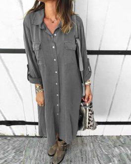 Plus size Turn Down Collar Solid Long Sleeve Mini Dresses