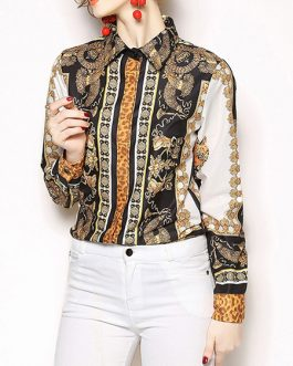 Printed Buttons Turndown Collar Retro Long Sleeves Tops