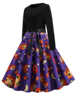Printed Long Sleeve Jewel Neck Vintage Dress