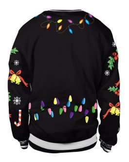 Printed Long Sleeve Oversized Pullover Christmas Sweatshirt