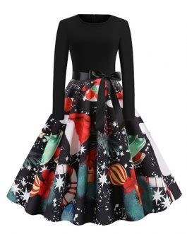 Printed Long Sleeves Jewel Neck Vintage Dress