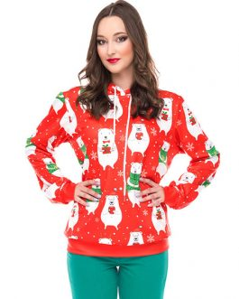Printed Oversized Hooded Christmas Pullover Sweatshirt