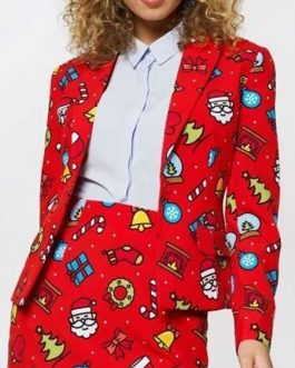 Christmas Print Turndown CollarJacket
