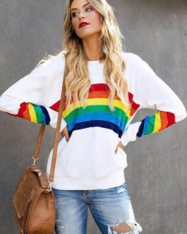 Rainbow Stripe Sweatshirt Long Sleeve Round Neck Pullover Top