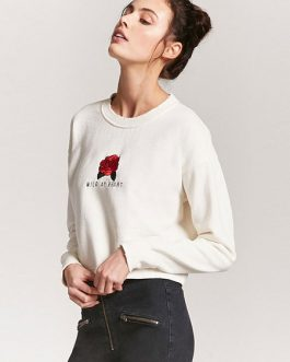 Rose Embroidered Long Sleeve Crop Logo Sweatshirt