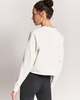 Rose Embroidered Long Sleeve Crop Logo Sweatshirt