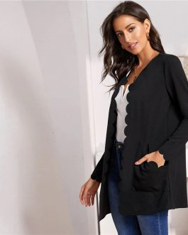 Round Neck Solid Open Front Office Ladies Elegant Coat